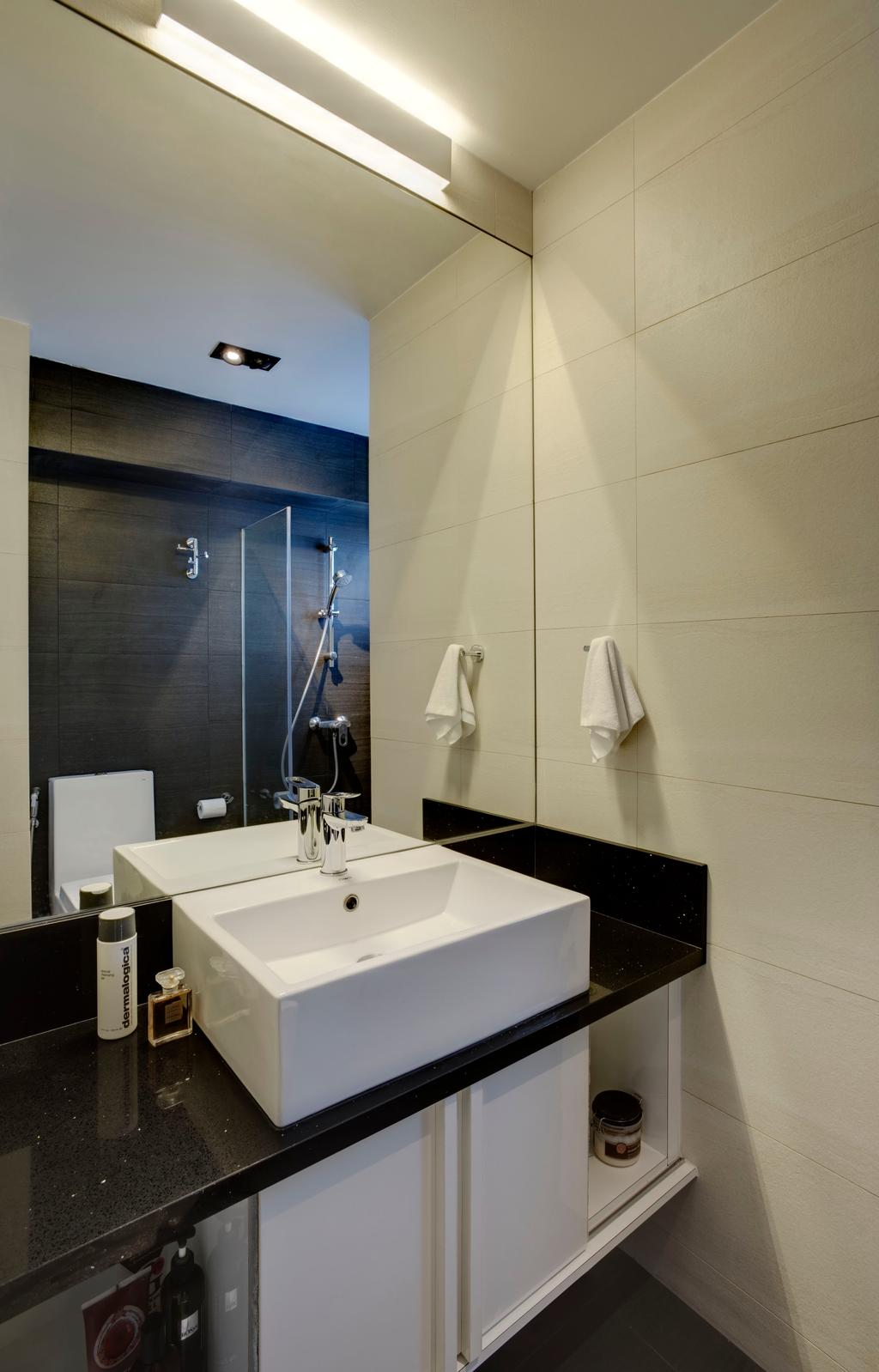 Modern, HDB, Bathroom, Pasir Ris (Block 753), Interior Designer, The Design Practice, Sink, Mirror, Cabinets, Indoors, Interior Design, Room