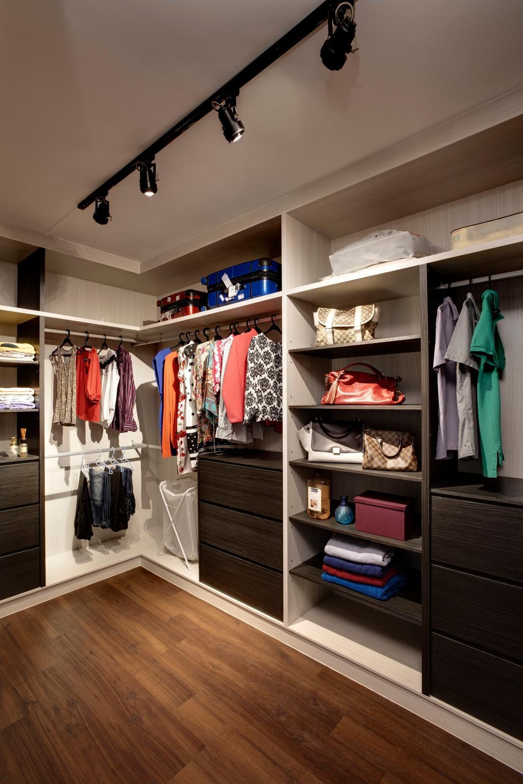 Modern, HDB, Bedroom, Pasir Ris (Block 753), Interior Designer, The Design Practice, Walk In Wardrobe, Track Lights, Wood Floor, Cabinet, Storage, Modular System, Closet, Shelf, Accessories, Bag, Handbag, Purse