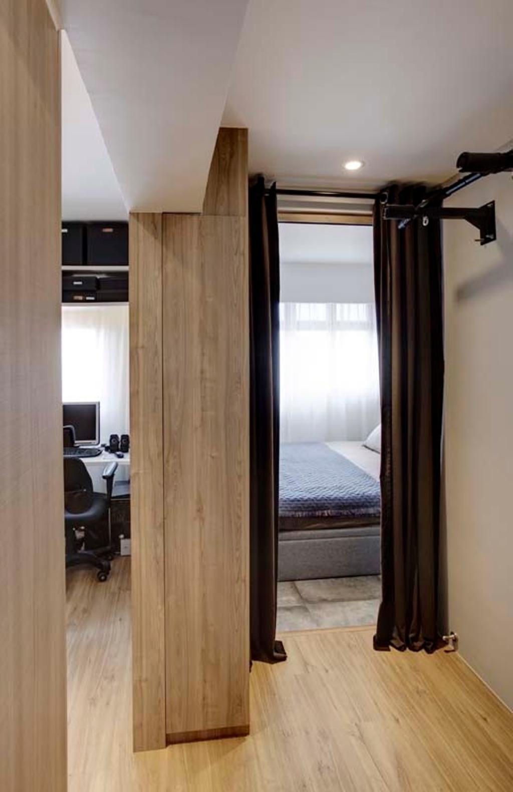 Contemporary, HDB, Pasir Ris (Block 526C), Interior Designer, The Design Practice, Wood Floor, Bed, Curtain, Electronics, Entertainment Center