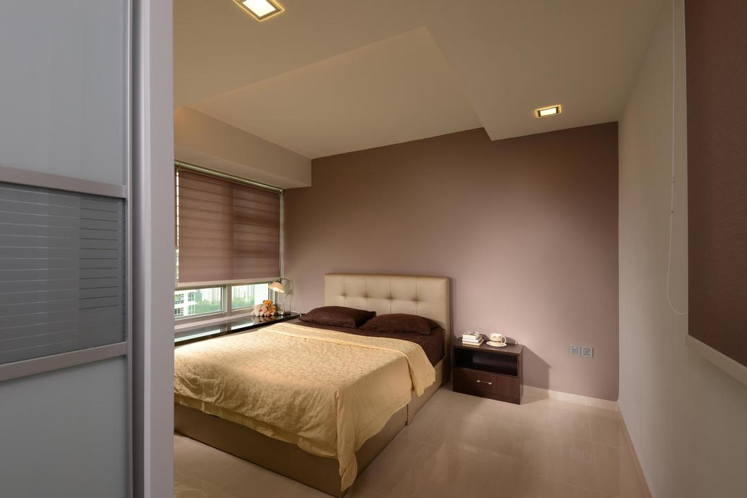 Clementi, Urban Habitat Design, Modern, Bedroom, Condo, Indented Ceiling, Recessed Lighting, Spacious, Bedside Table, Nightstand, Padded Headboard, Blinds, Window, Marble Flooring, Sliding, Door, Furniture, Indoors, Interior Design, Room