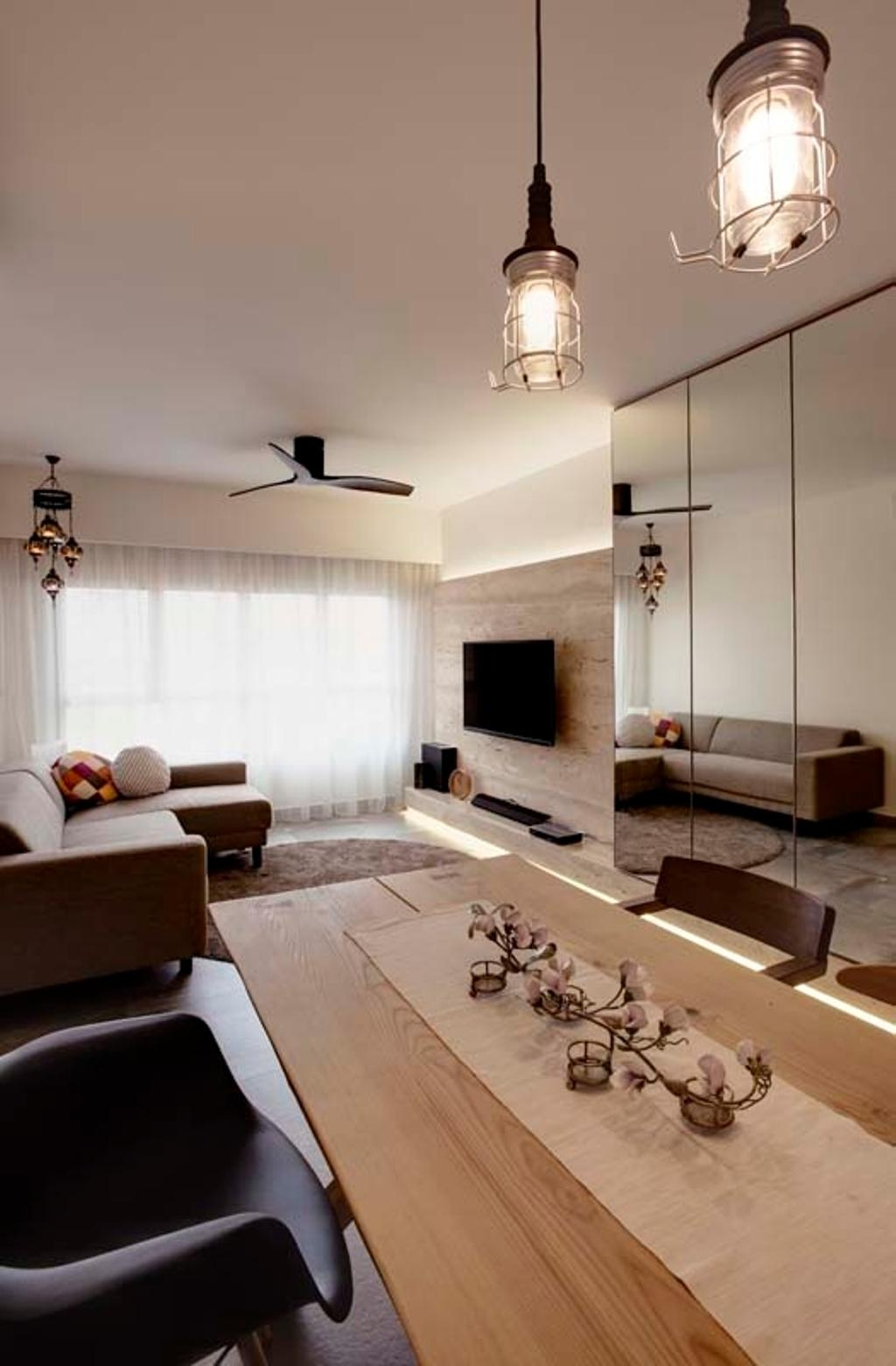 Contemporary, HDB, Dining Room, Pasir Ris (Block 526C), Interior Designer, The Design Practice, Tv, Feature Wall, Tv Console, Curtain, Ceiling Fan, Sofa, Dining Tbale, Hanging Light, Industrial Lights, Indoors, Room, Couch, Furniture, Paper