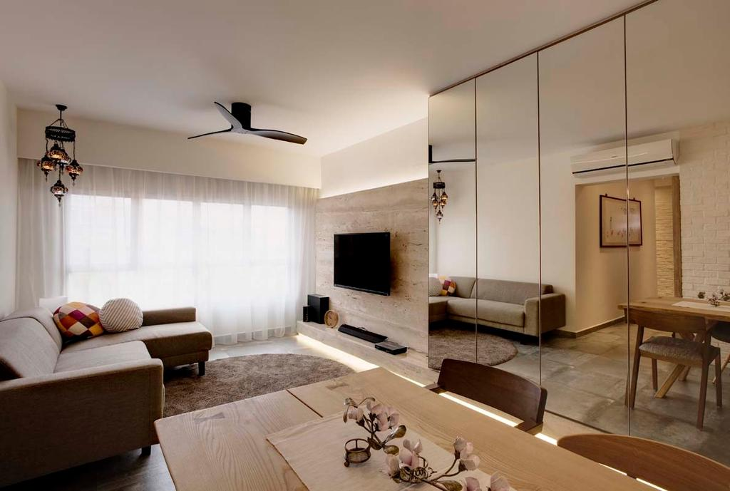 Contemporary, HDB, Living Room, Pasir Ris (Block 526C), Interior Designer, The Design Practice, Curtain, Ceiling Fan, Tv, Feature Wall, Cove Light, Sofa, Mirror, Storage, Cupboard, Dining Table, Carpet, Tv Console, Couch, Furniture, Ottoman, Table, Indoors, Interior Design