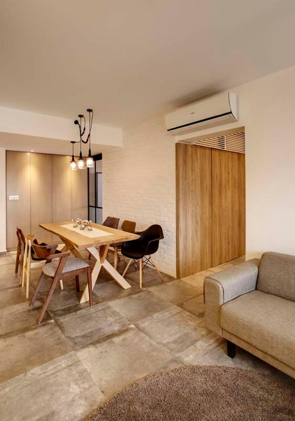 Contemporary, HDB, Dining Room, Pasir Ris (Block 526C), Interior Designer, The Design Practice, Tiles, Sofa, Dining Table, Dining Chairs, Chair, Furniture, Table, Carpet, Home Decor