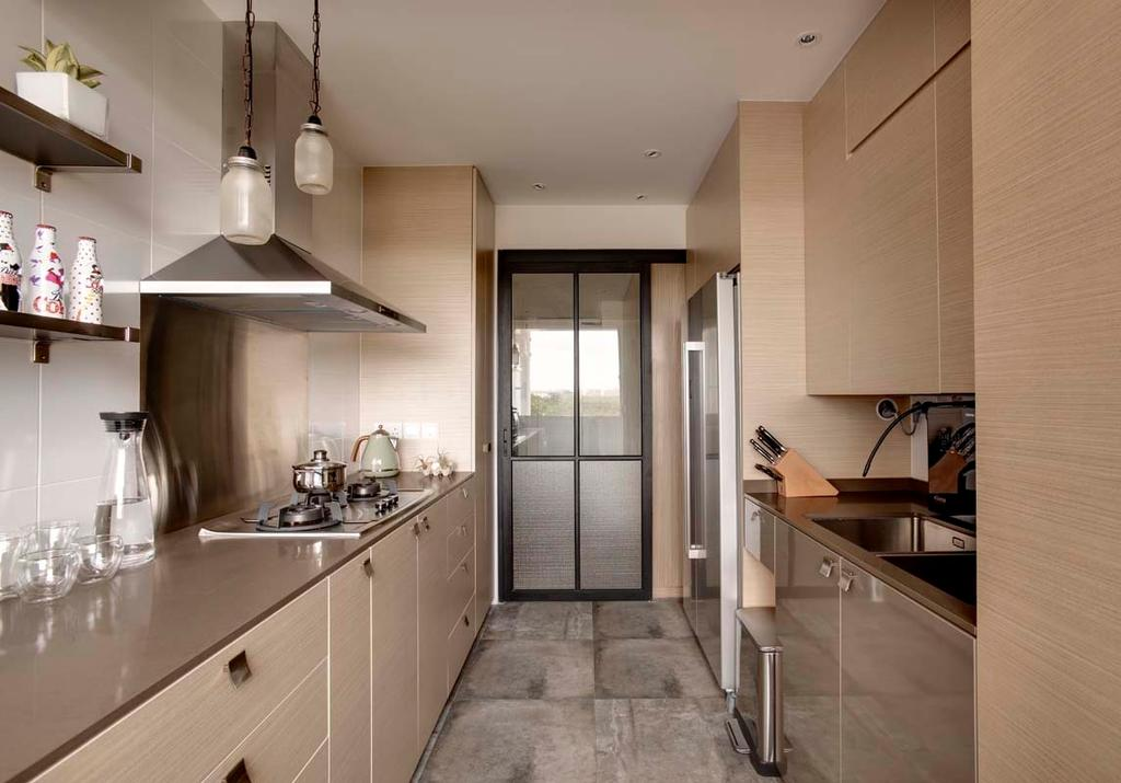 Contemporary, HDB, Kitchen, Pasir Ris (Block 526C), Interior Designer, The Design Practice, Hood, Stove, Tiles, Drawers, Cabinets, Fridge, Shelving, Sink, Banister, Handrail