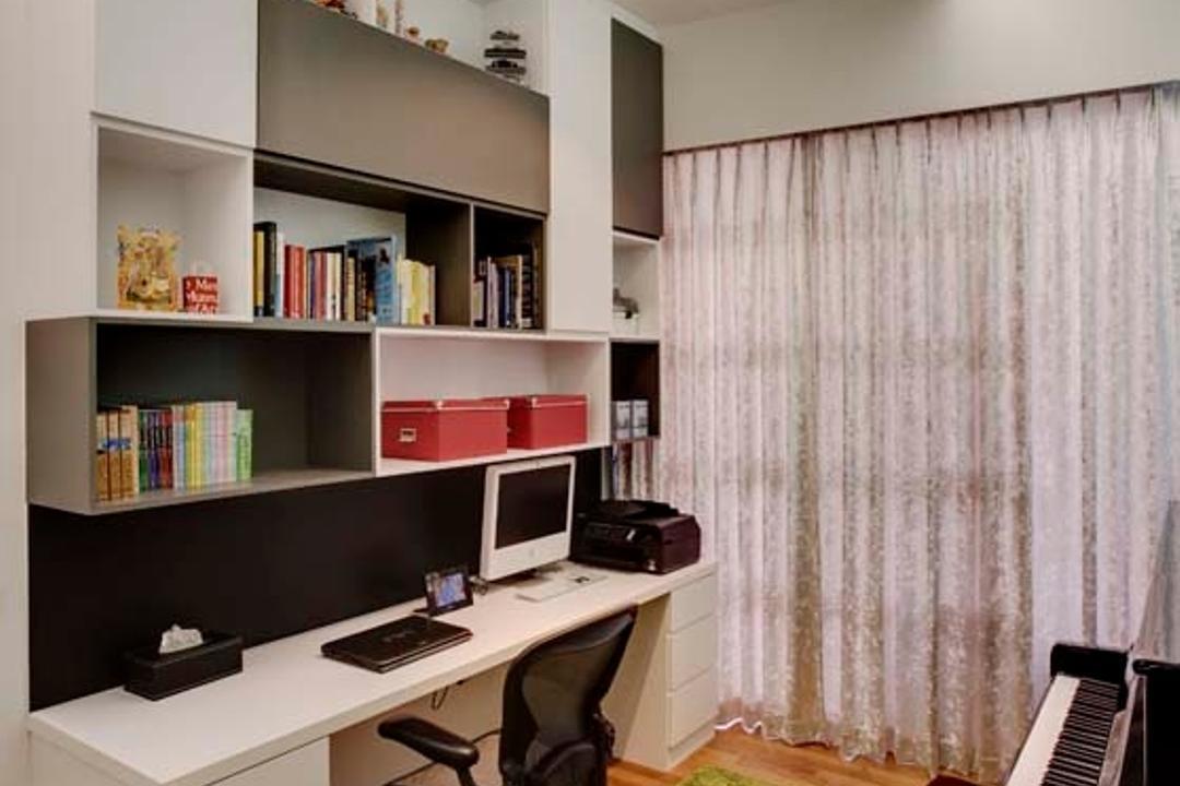 D'Leedon, The Design Practice, Transitional, Vintage, Study, Condo, Book Shelf, Carpet, Curtain, Cove Light, Wood Floor, Shelf, Bookcase, Furniture, Desk, Table