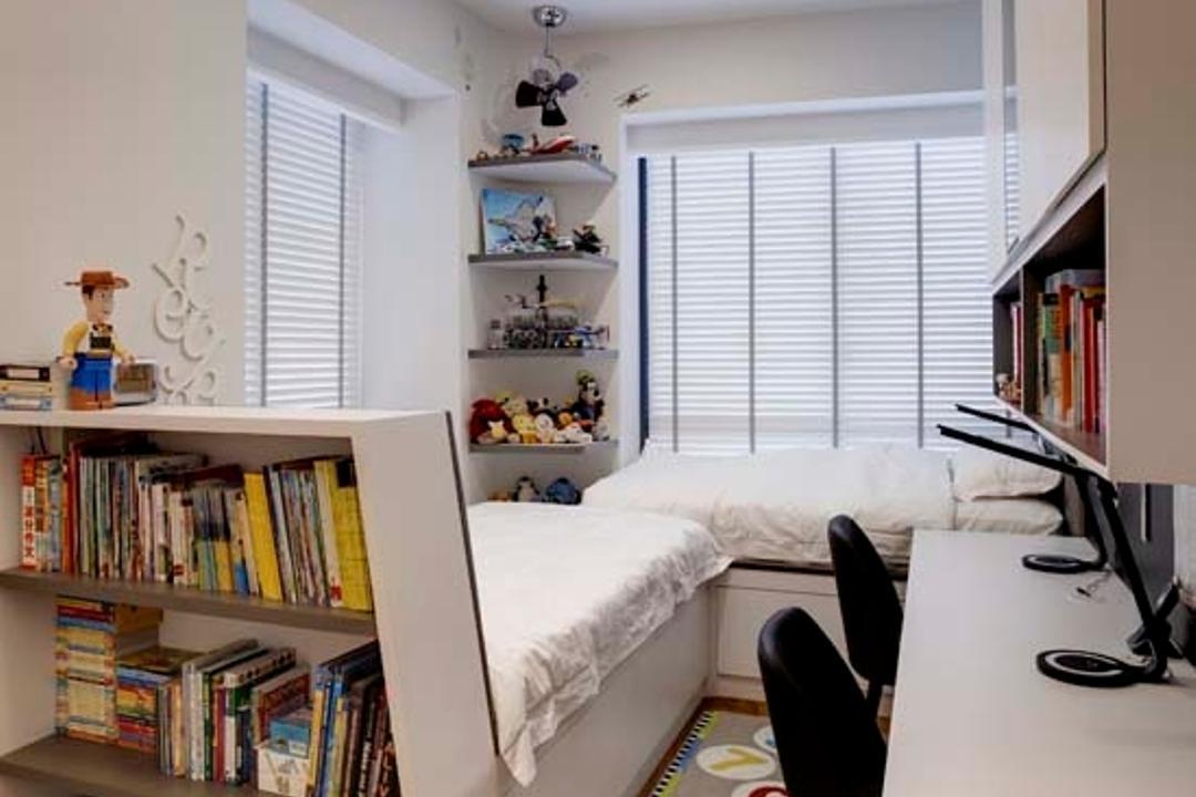 D'Leedon, The Design Practice, Transitional, Vintage, Bedroom, Condo, Down Lights, Blinds, Wood Floor, Desk, Book Shelf, Bed, Book, Bookcase, Furniture, Indoors, Interior Design, Library, Room