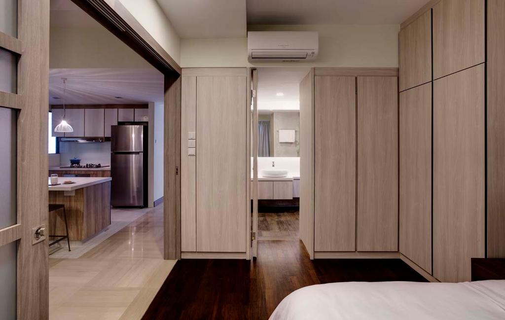 Contemporary, Condo, Bedroom, Water Place, Interior Designer, The Design Practice, Wardrobe, Cupboard, Mirror, Tiles, Sink, Flooring