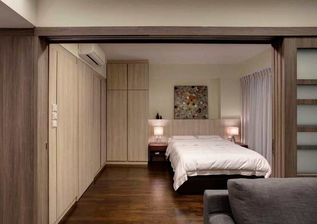 Contemporary, Condo, Bedroom, Water Place, Interior Designer, The Design Practice, Bed, Bedside Lights, Wardrobe, Cupboard, Wood Floor, Indoors, Interior Design, Room