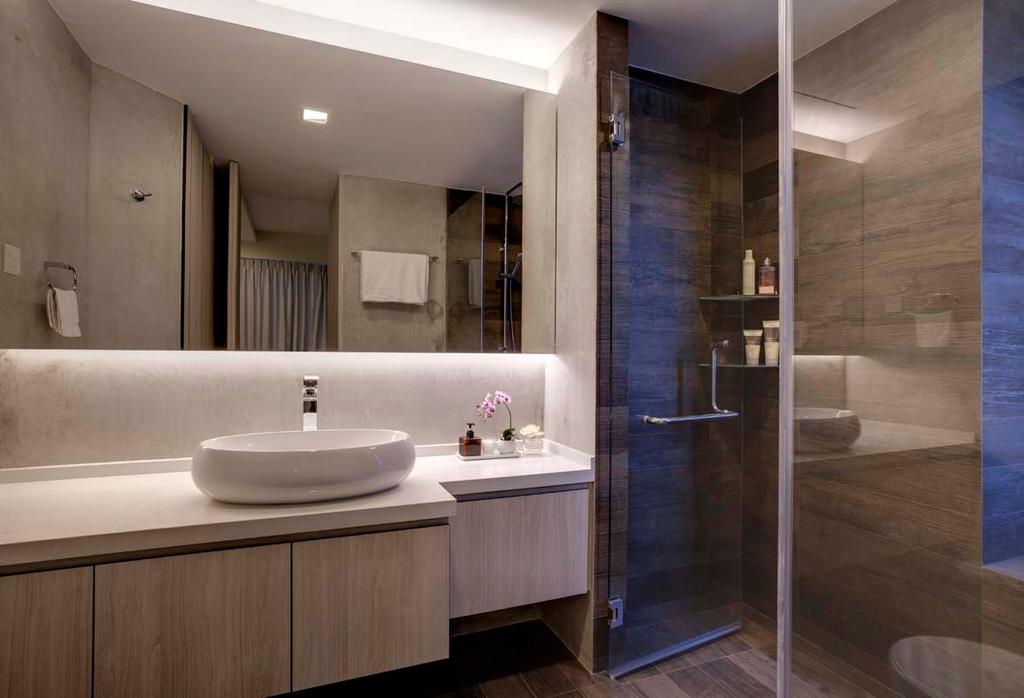 Contemporary, Condo, Bathroom, Water Place, Interior Designer, The Design Practice, Mirror, Sink, Cabinets, Shower, Cove Light, Indoors, Interior Design, Room, Molding, Toilet
