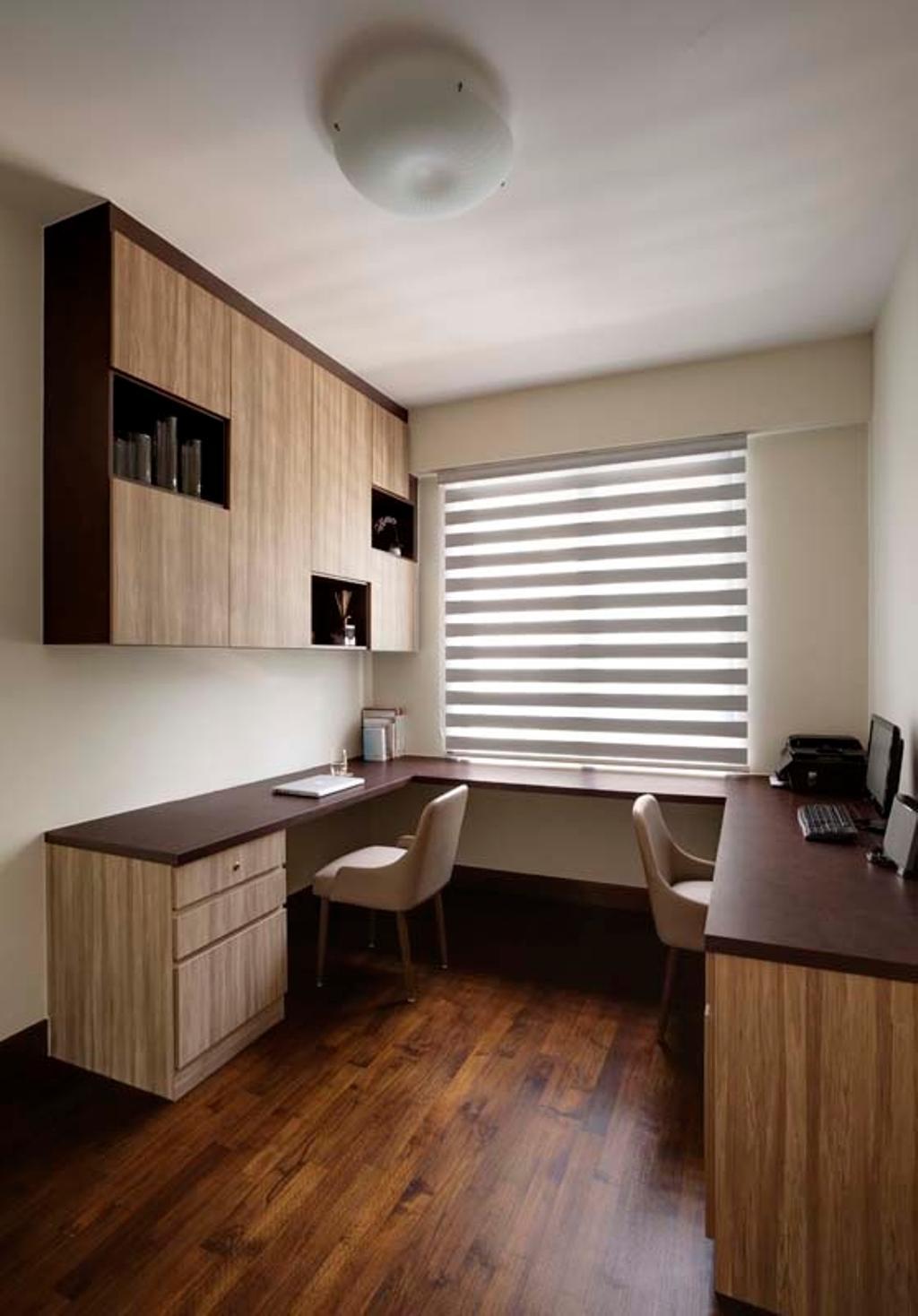 Contemporary, Condo, Study, Water Place, Interior Designer, The Design Practice, Blinds, Desk, Sink