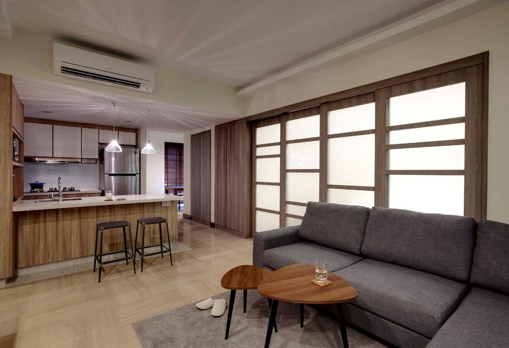 Contemporary, Condo, Dining Room, Water Place, Interior Designer, The Design Practice, Coffee Table, Sofa, Island Table, Dry Kitchen, Hanging Lights, Stooltiles, HDB, Building, Housing, Indoors, Loft, Couch, Furniture, Chair, Room, Dining Table, Table