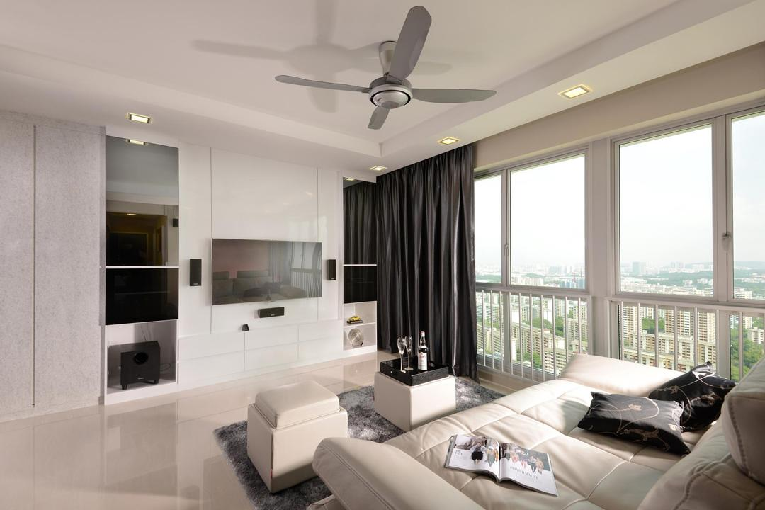 Clementi, Urban Habitat Design, Modern, Living Room, Condo, Ceiling Fan, Full Length Windows, Curtains, Monochrome, Recessed Lighting, Indented Ceiling, Marble Flooring, Coffee Table, Sofa, Rug, Cabinet, Indoors, Room