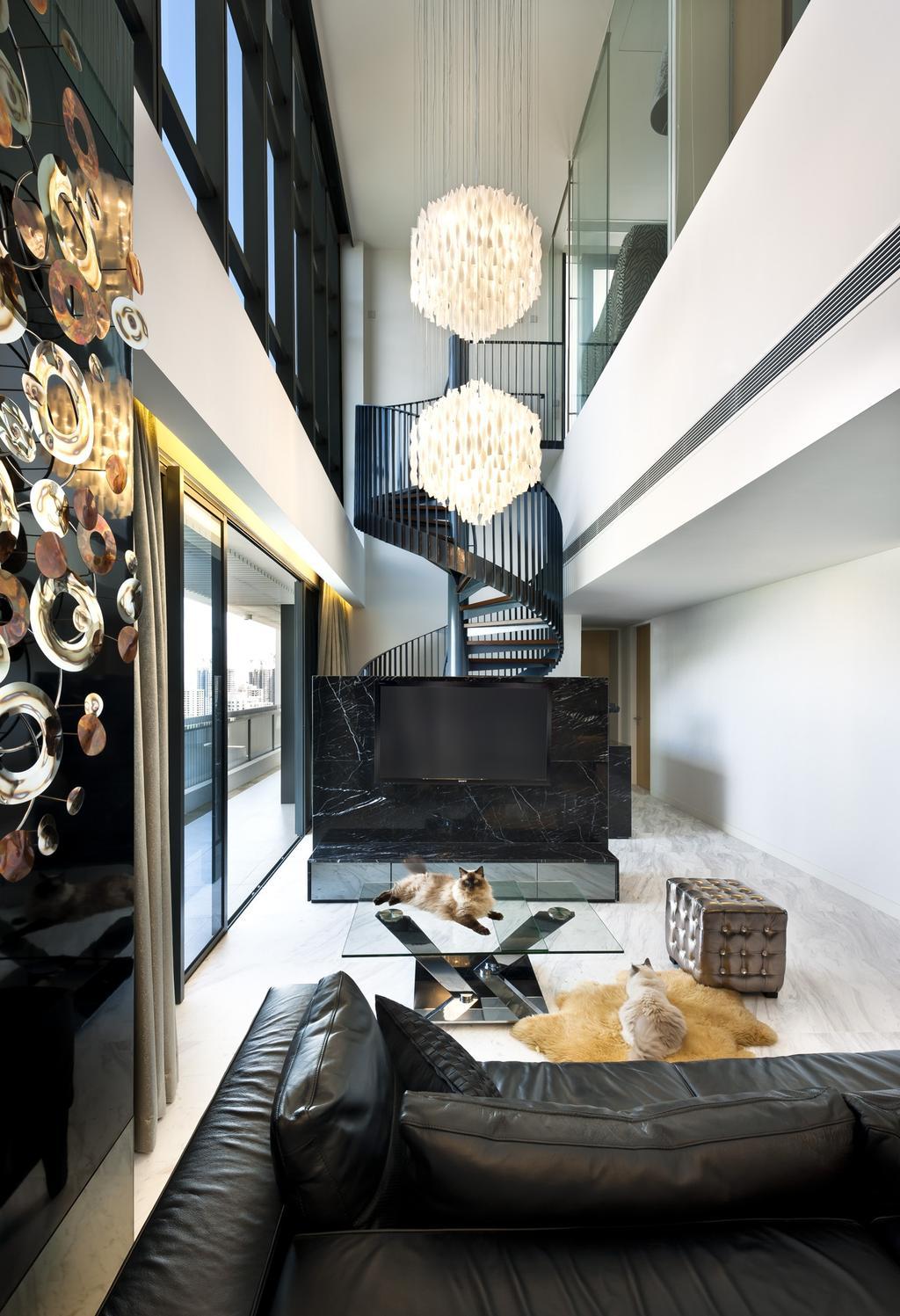 Modern, Condo, Living Room, The Arte, Interior Designer, Ciseern, Chandelier, Tv, Sofa, Stariways, Indoors, Interior Design