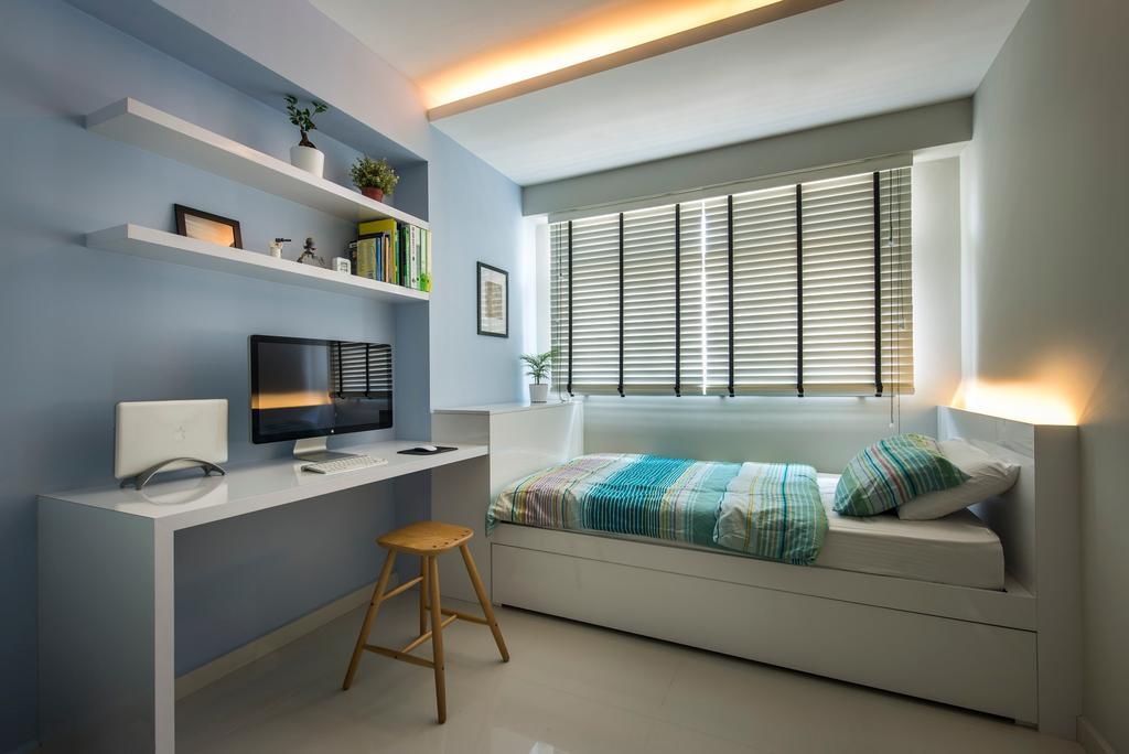 Modern, HDB, Bedroom, Punggol Waves, Interior Designer, Ciseern, Desk, Bed, Blinds, Shleving, Cove Light, Furniture, Table, Indoors, Room, Bar Stool