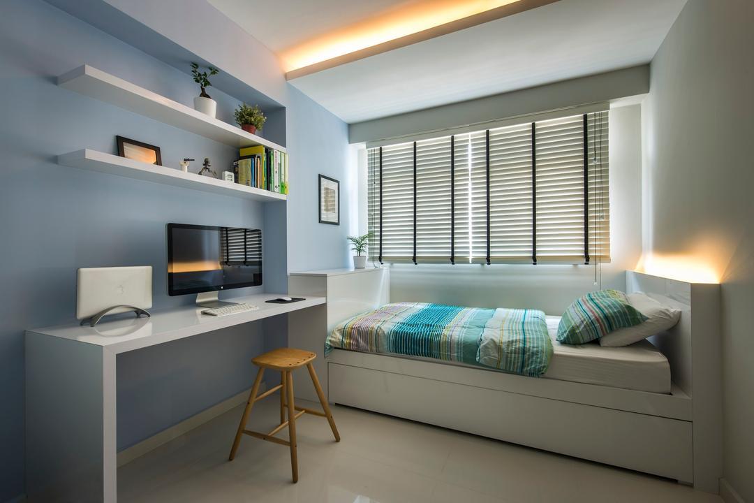 Punggol Waves, Ciseern, Modern, Bedroom, HDB, Desk, Bed, Blinds, Shleving, Cove Light, Furniture, Table, Indoors, Room, Bar Stool