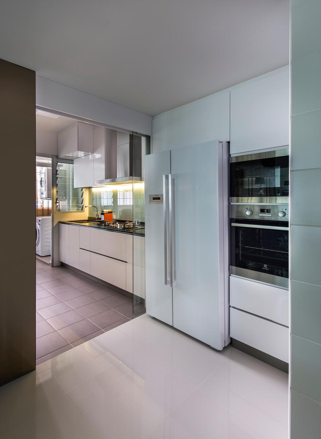 Modern, HDB, Kitchen, Punggol Waves, Interior Designer, Ciseern, Fridge, Tiles, Oven, Indoors, Interior Design, Room, Appliance, Electrical Device