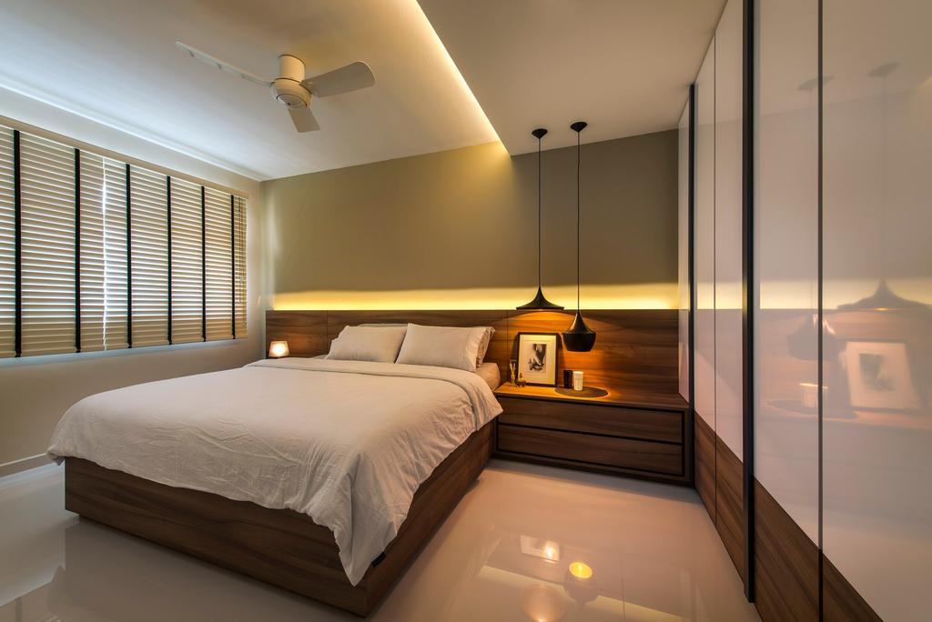 Modern, HDB, Bedroom, Punggol Waves, Interior Designer, Ciseern, Blinds, Bed Frame, Hanging Lights, Ceiling Fan, Cove Light, Wardrobe, Tiles, Bed, Furniture, Indoors, Interior Design, Room