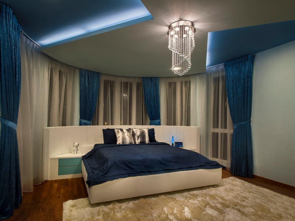 Modern, Landed, Bedroom, Pinewood Grove, Interior Designer, Ciseern, Side Table, Bed, Curtain, Chandelier, Wood Floor, Carpet, Furniture, Indoors, Interior Design, Room, Sink