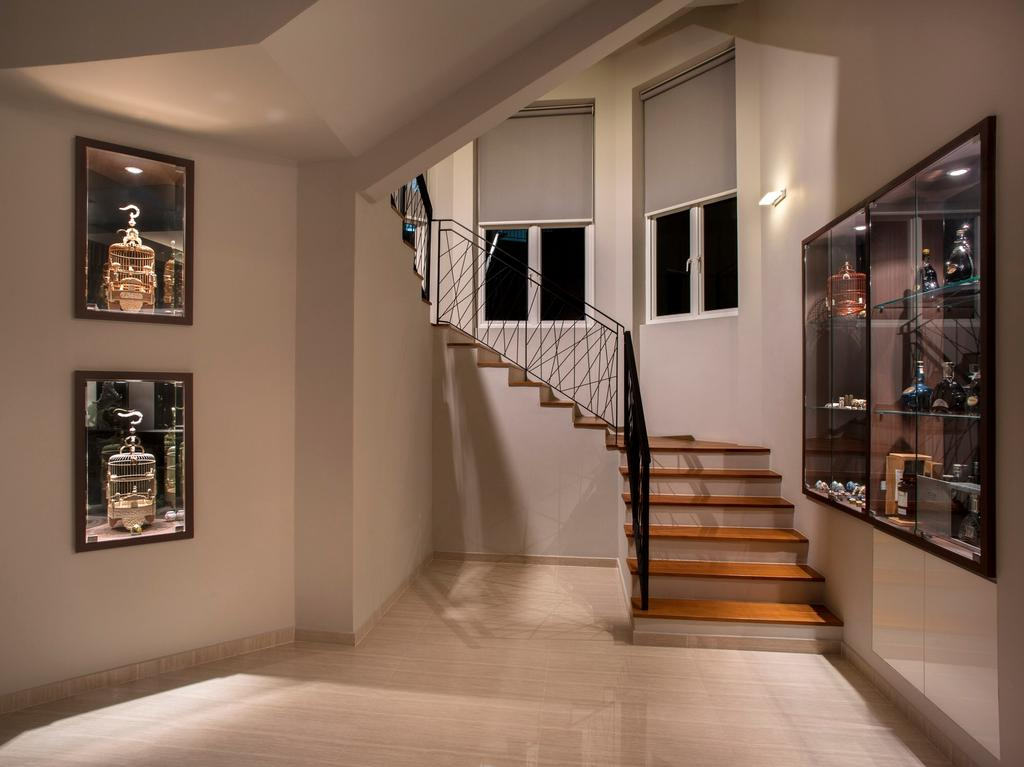 Modern, Landed, Pinewood Grove, Interior Designer, Ciseern, Stairs, Glass Display, Banister, Handrail, Staircase, Trophy
