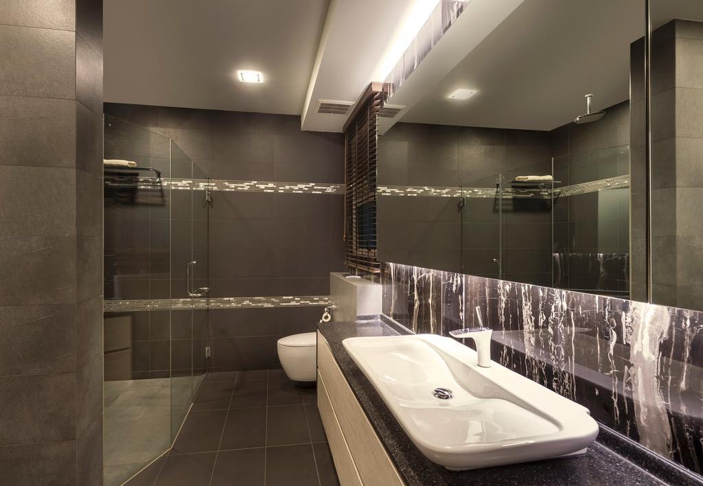 Modern, Landed, Bathroom, Pinewood Grove, Interior Designer, Ciseern, Mirror, Sink, Tiles, Down Light, Shower Screen, Indoors, Interior Design, Room, Bathtub, Tub