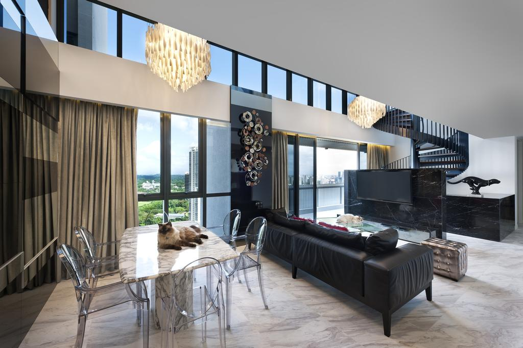 Modern, Condo, Dining Room, The Arte, Interior Designer, Ciseern, Dining Table, Dining Chairs, Sofa, Tiles, Tv, Stariways, Chandelier, Furniture, Table, Chair, Couch, Indoors, Interior Design