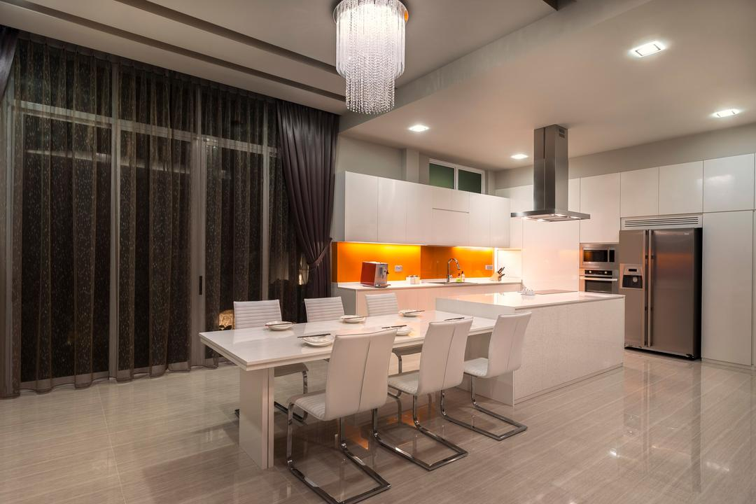 Pinewood Grove, Ciseern, Modern, Dining Room, Landed, Chandelier, Dining Table, Open Kitchen, Dry Kitchen, Hood, Fridge, Island Top, Dining Hairs, Down Light, Light Fixture, Furniture, Table, Indoors, Interior Design, Room