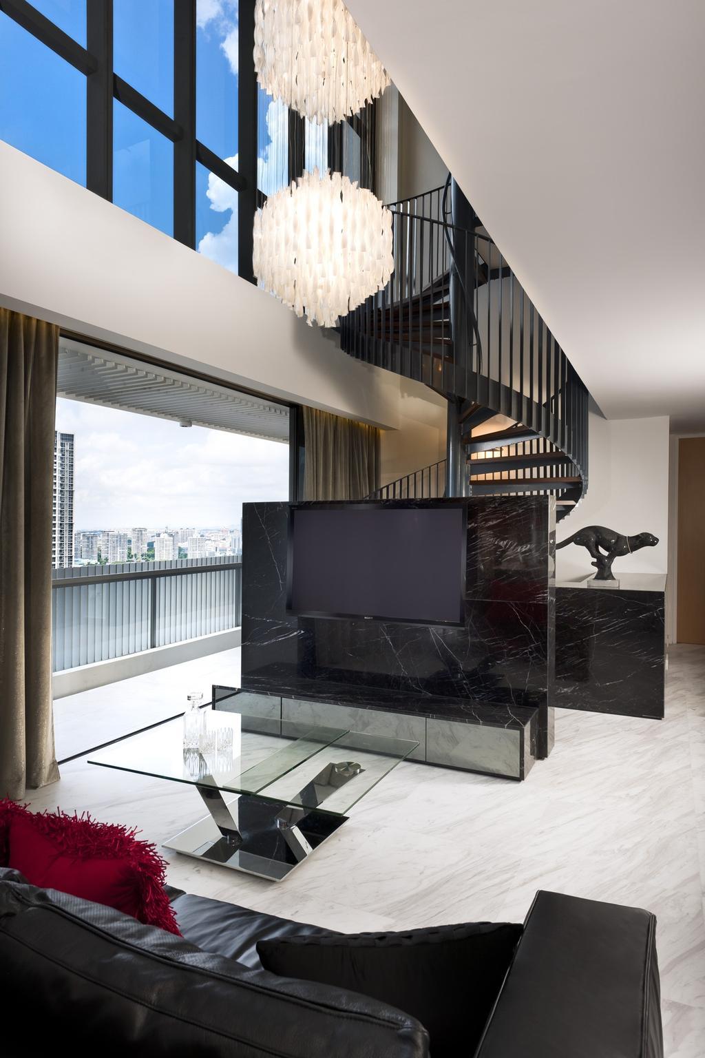 Modern, Condo, Living Room, The Arte, Interior Designer, Ciseern, Tv, Stairs, Chandelier