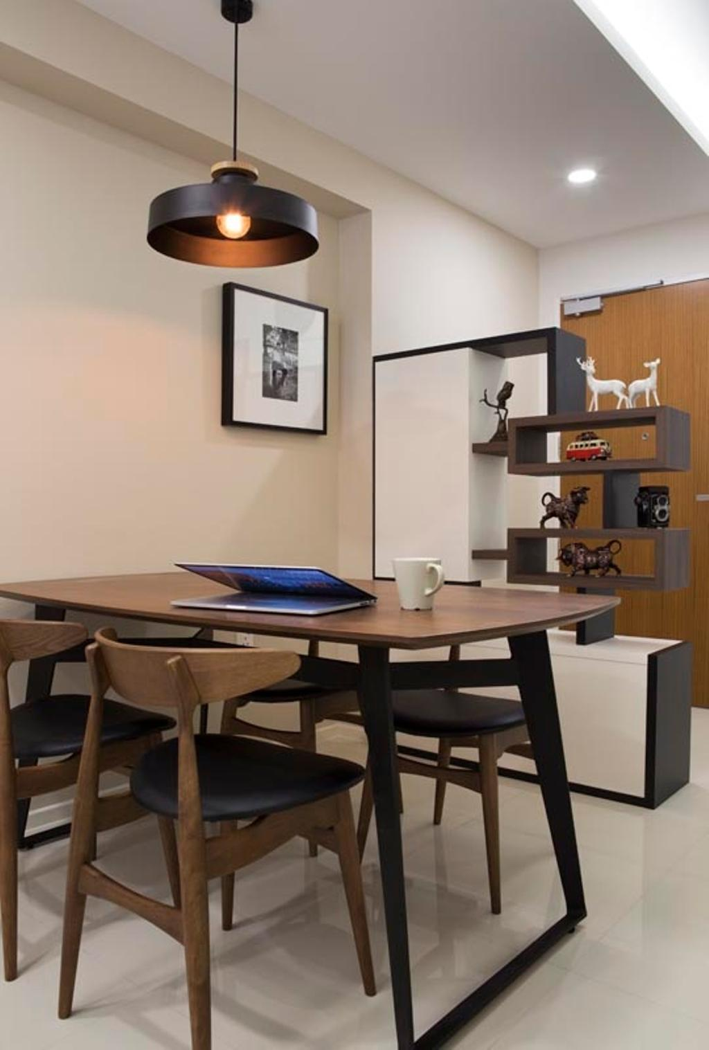 Contemporary, HDB, Dining Room, Punggol Waterway Terraces (Block 310C), Interior Designer, Yonder, Dining Table, Dining Chiars, Donw Light, Partition, Furniture, Table, Indoors, Interior Design, Room