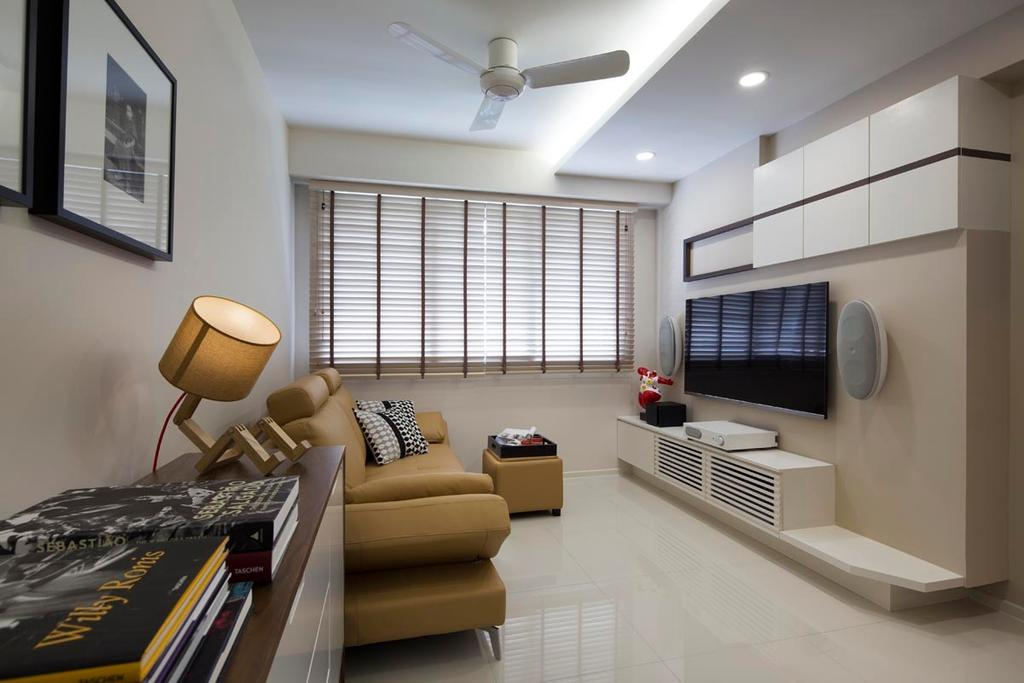 Contemporary, HDB, Living Room, Punggol Waterway Terraces (Block 310C), Interior Designer, Yonder, Blinds, Tv, Tv Console, Celing Fan, Cove Light, Downl Ight, Sofa, Ottoman, Tiles, Couch, Furniture, Lighting