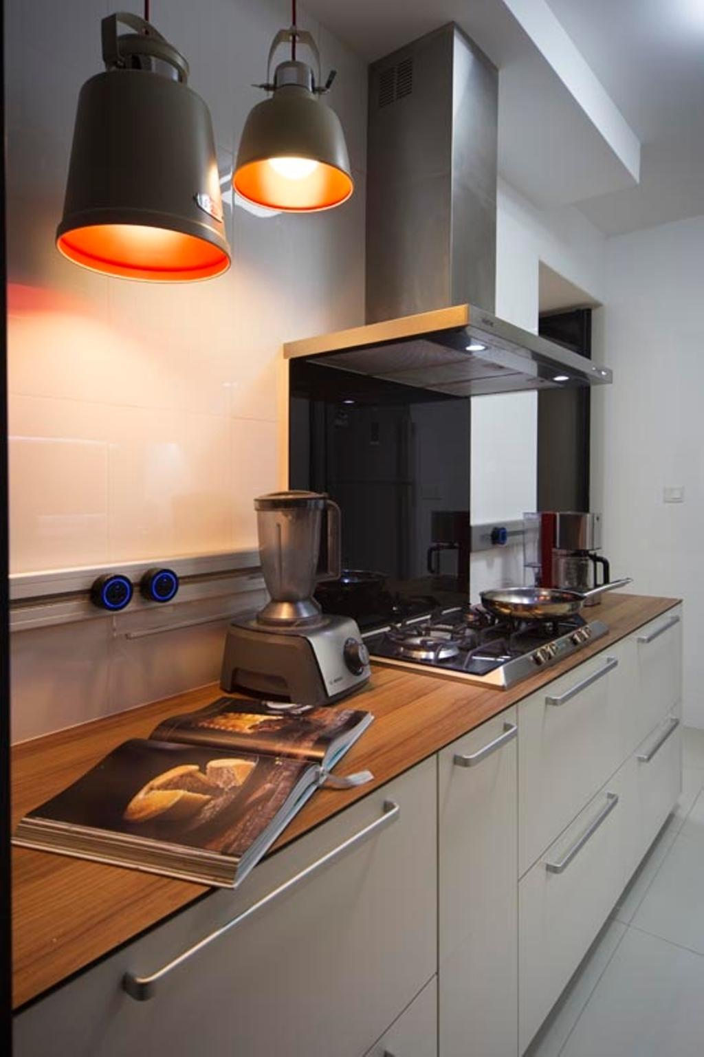 Contemporary, HDB, Kitchen, Punggol Waterway Terraces (Block 310C), Interior Designer, Yonder, Fridge, Stove, Hood, Hanging Lights