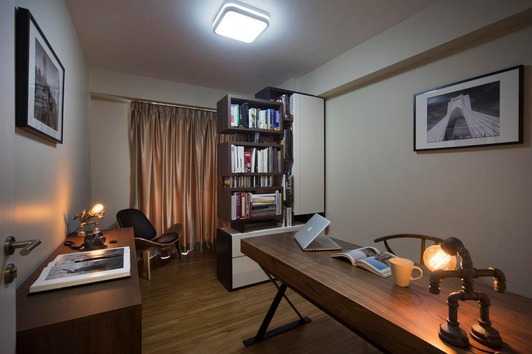 Punggol Waterway Terraces (Block 310C), Yonder, Contemporary, Study, HDB, Curtain, Shelving, Book Shelves, Table, Chair, Wood Floor, Bookcase, Furniture, Indoors, Room, Dining Room, Interior Design, Art, Couch