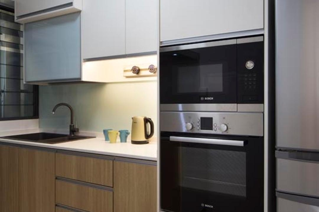 Punggol Waterway Terraces (Block 310A), Yonder, Transitional, Kitchen, HDB, Oven, Sink, Cabinets, Dish Rack, Drawers, Appliance, Electrical Device