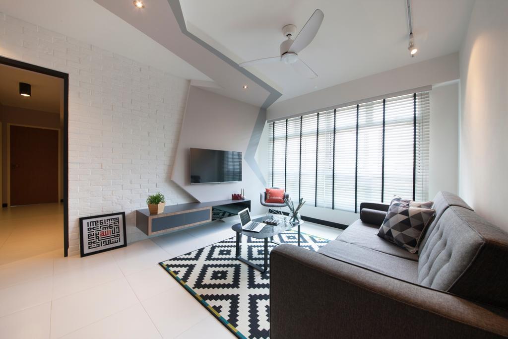 Scandinavian, HDB, Living Room, Woodlands, Interior Designer, M3 Studio, Eclectic, Wall Art, Quirky Panel, Tv Panel, Corridor, Building, Housing, Indoors, Loft, Interior Design