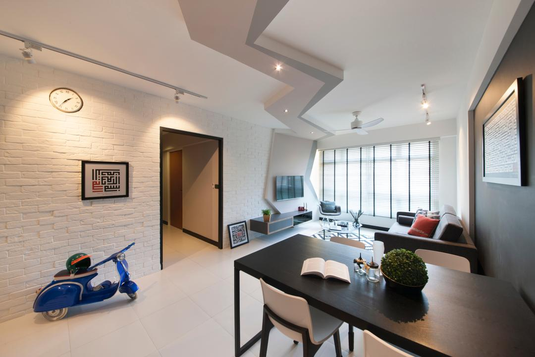 Woodlands, M3 Studio, Scandinavian, Eclectic, Dining Room, HDB, Dining Table, Black And White, Monochrome, Walkway, Corridor, Hallway, Bonsai, Flora, Jar, Plant, Potted Plant, Pottery, Tree, Vase, Building, Housing, Indoors, Loft, Furniture, Table, Motor Scooter, Motorcycle, Transportation, Vehicle, Vespa, Scooter