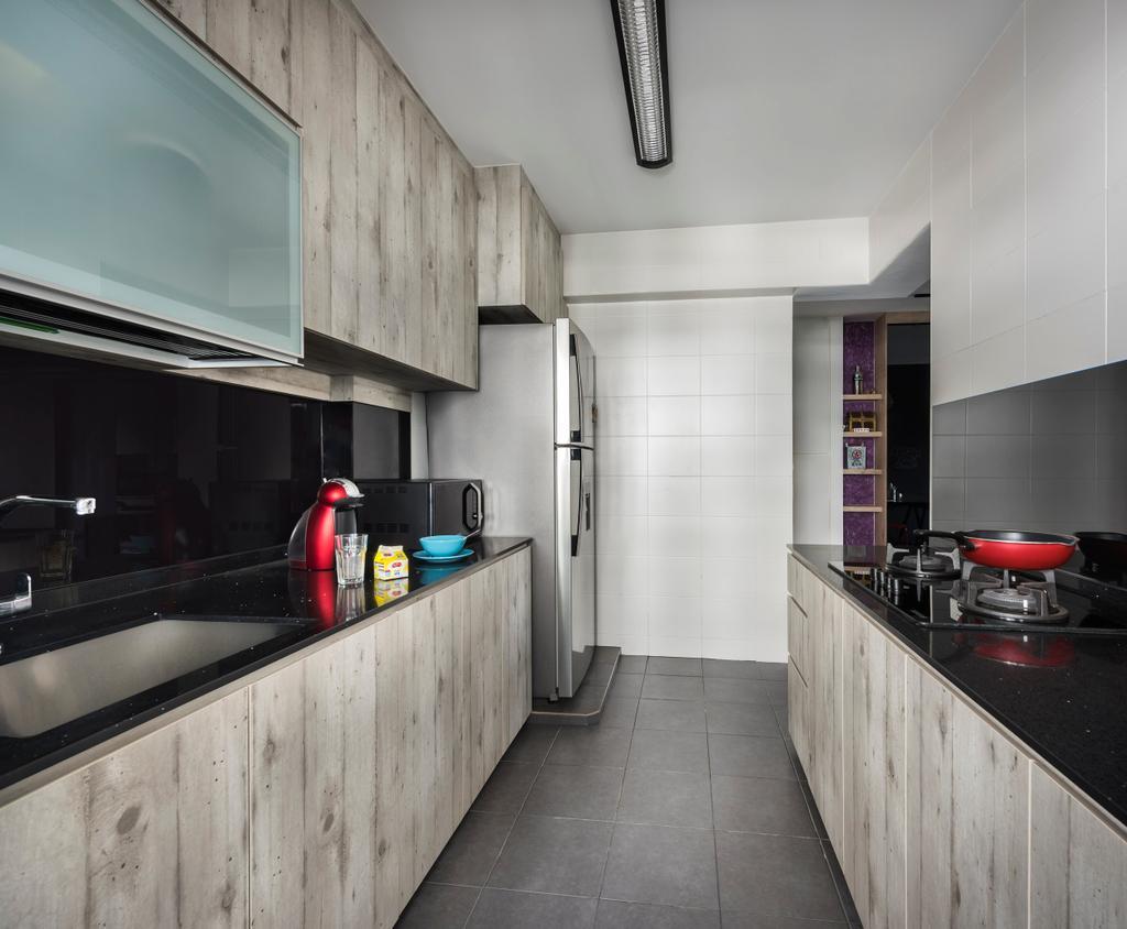 Industrial, HDB, Kitchen, Punggol Field, Interior Designer, D5 Studio Image, Cabinets, Drawers, Fridge, Dish Rack, Building, Housing, Indoors, Loft