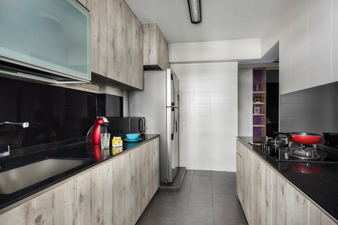 Punggol Field, D5 Studio Image, Industrial, Kitchen, HDB, Cabinets, Drawers, Fridge, Dish Rack, Building, Housing, Indoors, Loft