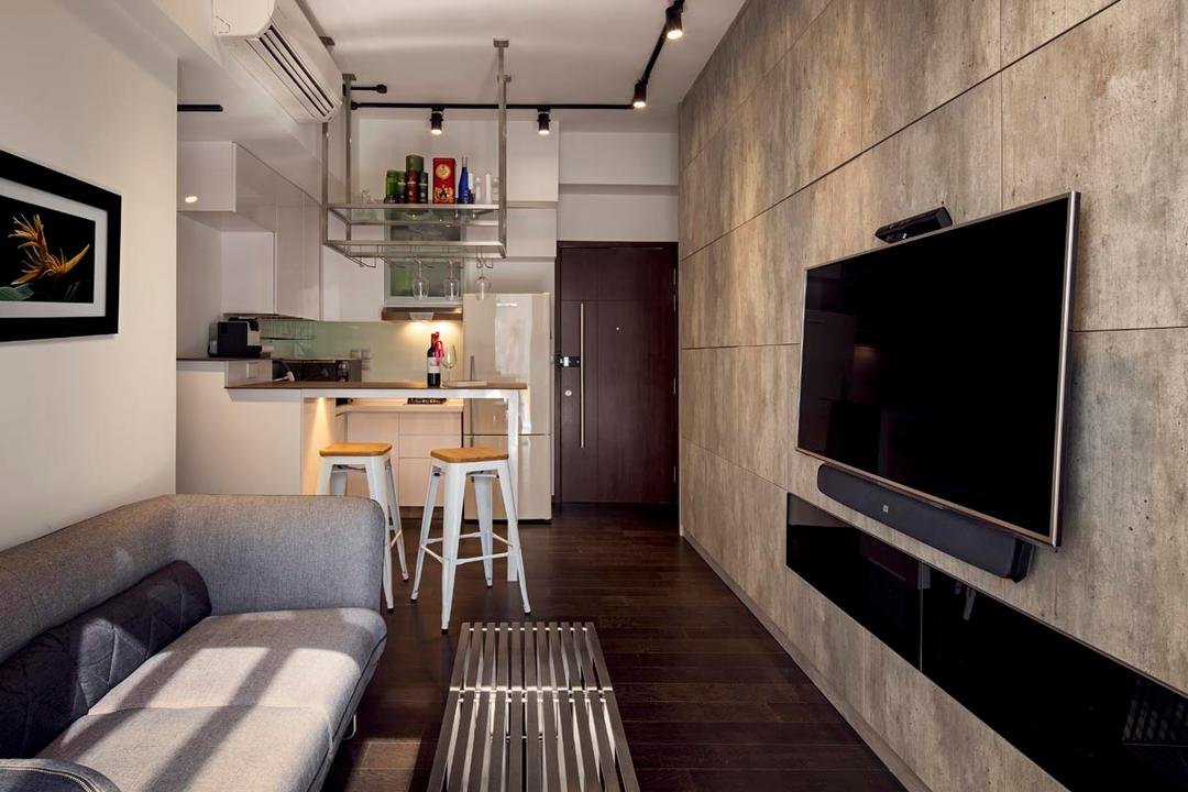 D'Weave (Geylang Lorong 39), Posh Home, Industrial, Living Room, Condo, Textured Wall, Track Lights, Grey Sofa, Coffee Table, White Bar Stool, Bar Top, Couch, Furniture, Chair