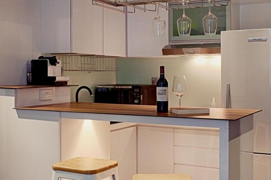D'Weave (Geylang Lorong 39), Posh Home, Industrial, Bathroom, Condo, White Stool, White Bar Stool, Bar Top, Indoors, Interior Design, Kitchen, Room