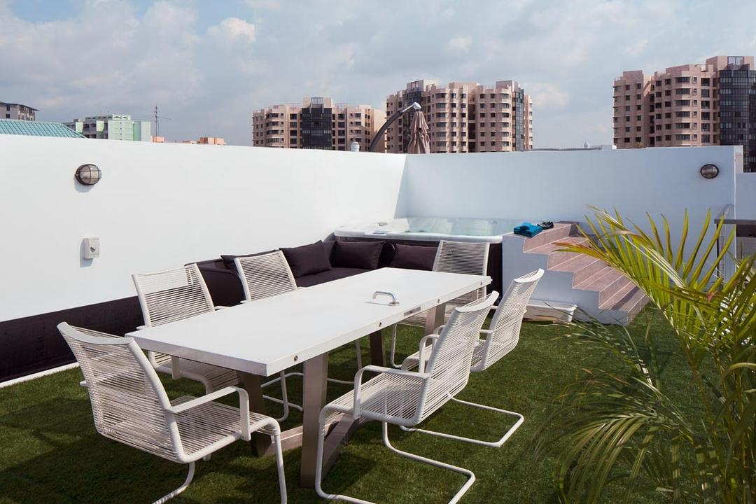 D'Weave (Geylang Lorong 39), Posh Home, Industrial, Garden, Condo, Roof Garden, White Dining Table, White Garden Chairs, Chair, Furniture, Dining Table, Table