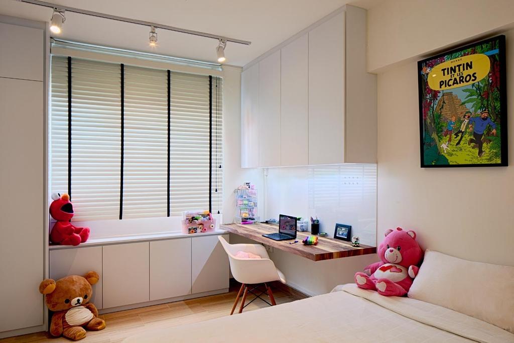 Minimalistic, HDB, Bedroom, Jalan Rumah Tinggi, Interior Designer, Posh Home, Scandinavian, Track Lights, Blinds, Cabinets, Desk, Chair, Bed, Teddy Bear, Toy