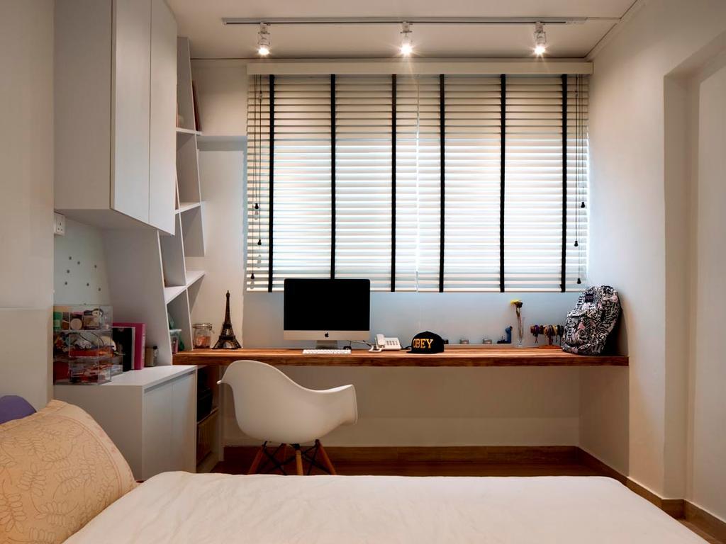 Minimalistic, HDB, Study, Jalan Rumah Tinggi, Interior Designer, Posh Home, Scandinavian, Desk, Blinds, Cabinets, Shleving, Bed, Track Lights