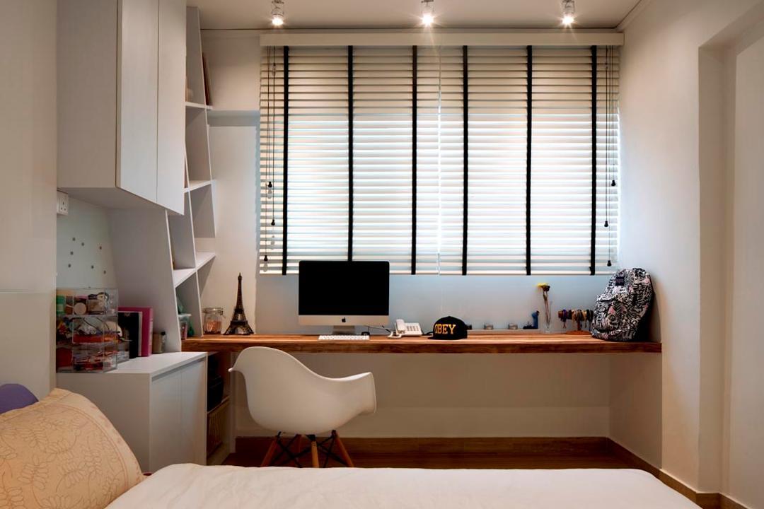 Jalan Rumah Tinggi, Posh Home, Minimalistic, Scandinavian, Study, HDB, Desk, Blinds, Cabinets, Shleving, Bed, Track Lights