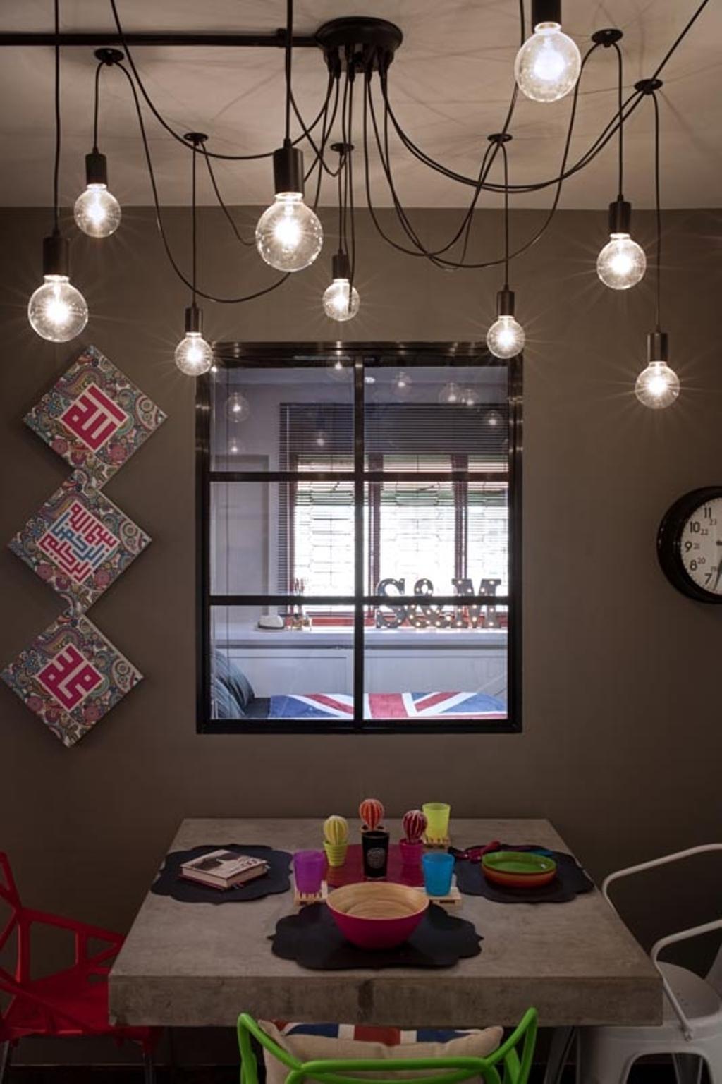 Retro, HDB, Dining Room, Jelapang Road (Block 502), Interior Designer, Posh Home, Industrial, Dining Table, Hanging Lights, Industrial Lights