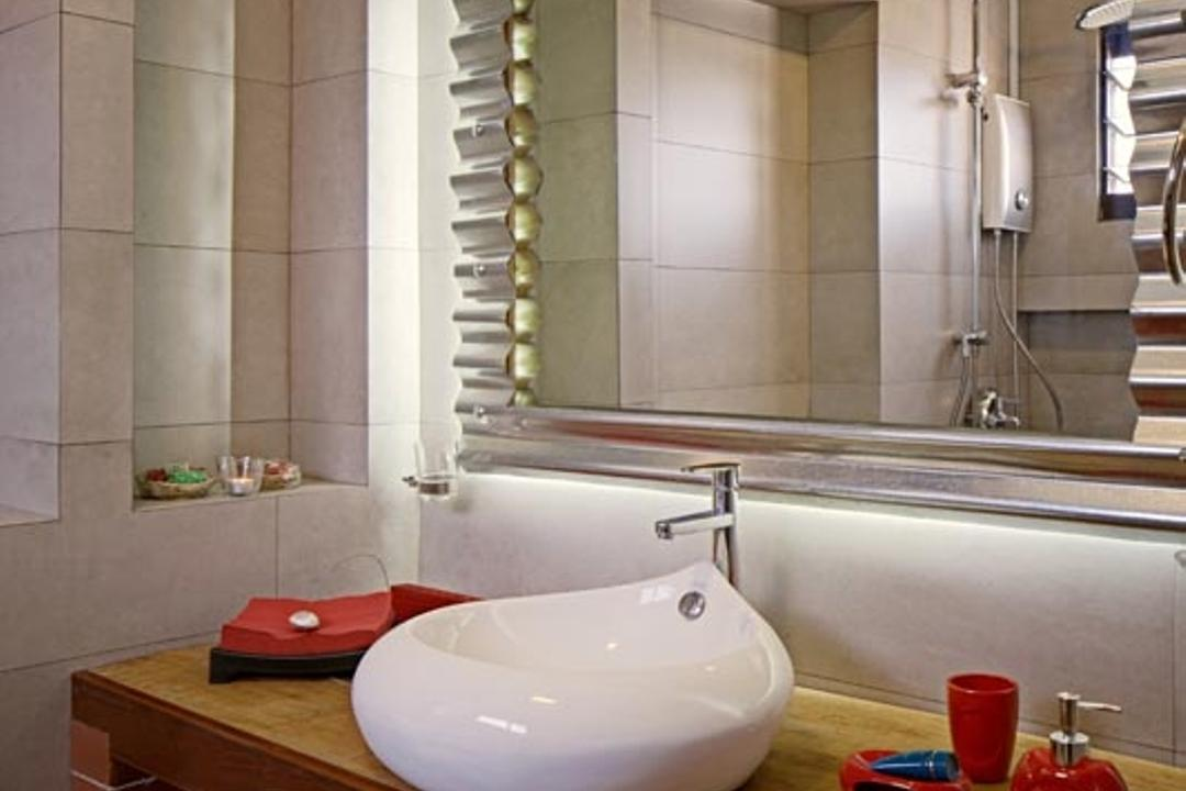 Jelapang Road (Block 502), Posh Home, Retro, Industrial, Bathroom, HDB, Mirror, Sink, Pipe, Covel Ight, Indoors, Interior Design, Room
