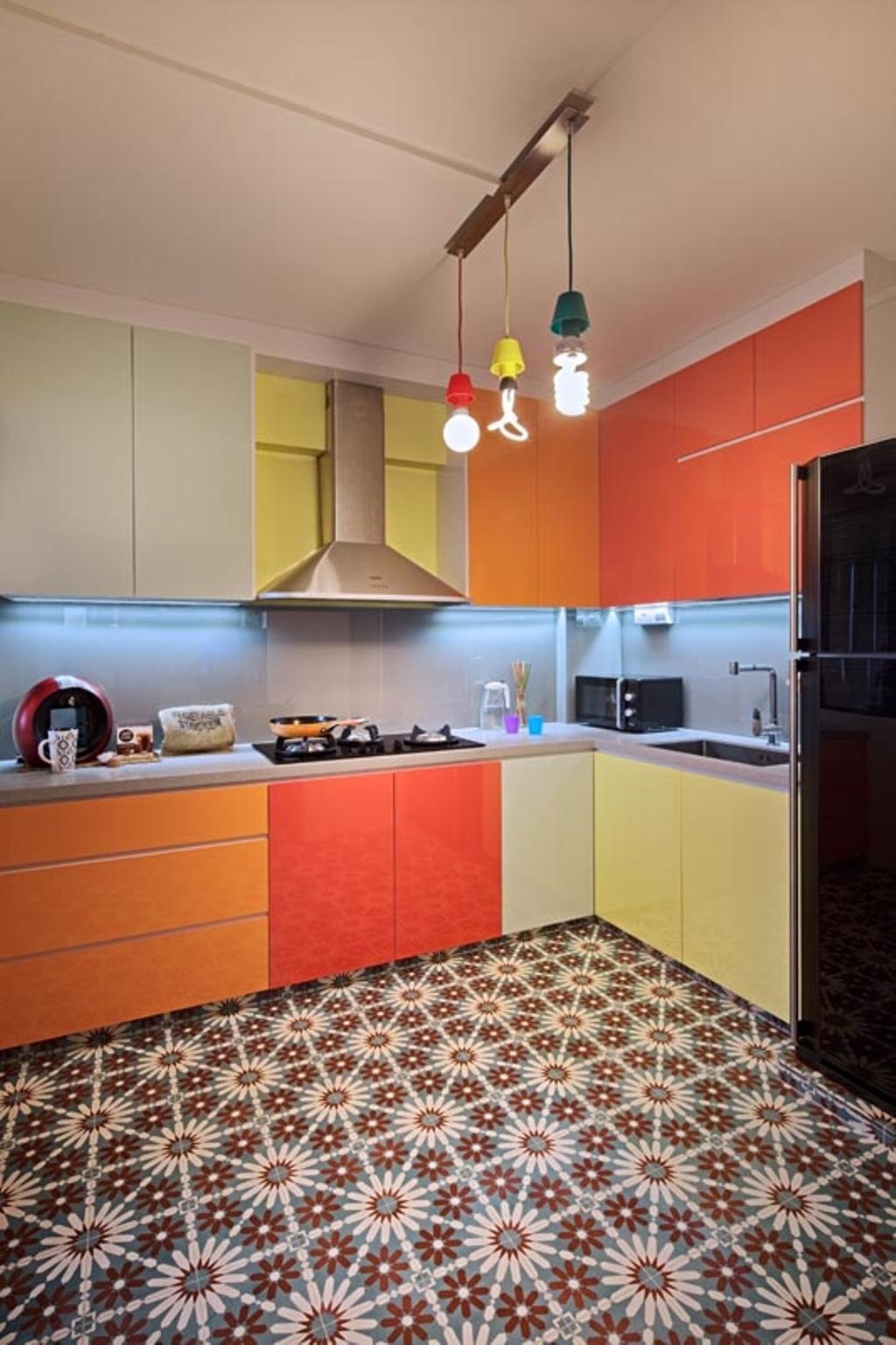 Retro, HDB, Kitchen, Jelapang Road (Block 502), Interior Designer, Posh Home, Industrial, Tiles, Hood, Stove, Fridge, Cabinets, Drawers, Sink, Hanging Lights, Industrial Lights, Colourful