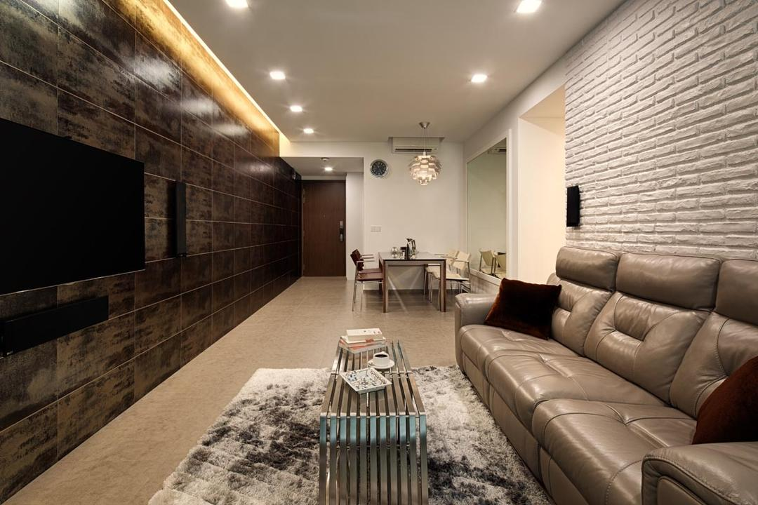 The Minton, Posh Home, Transitional, Contemporary, Living Room, Condo, Brick Wall, Sofa, Carpet, Coffee Table, Dining Table, Feature Wall, Tv, Downl Ights, Cove Lights, Tiles, Couch, Furniture, Brick, Indoors, Room