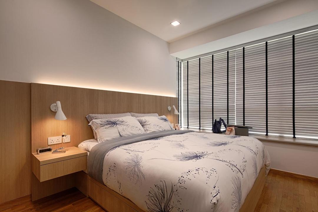 The Minton, Posh Home, Transitional, Contemporary, Bedroom, Condo, Blinds, Head Board, Bed, Downl Light, Wood Floor