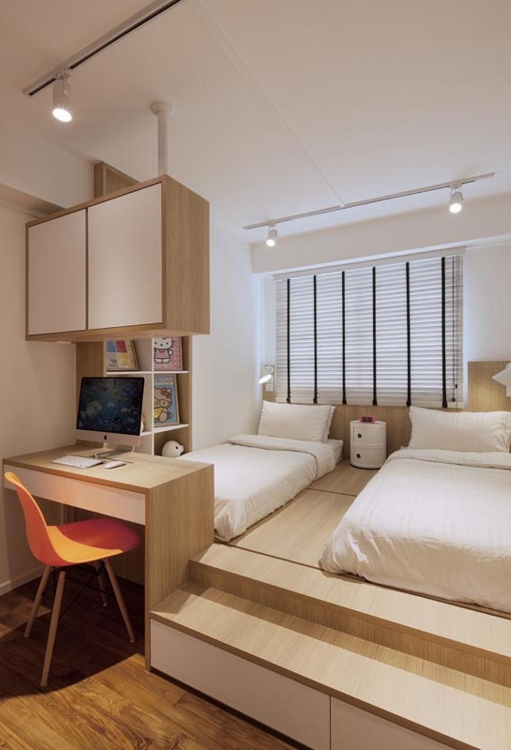 Minimalistic, HDB, Bedroom, Punggol Waterway Terraces, Interior Designer, Posh Home, Platform, Beds, Blinds, Desk, Chair, Shleving, Track Lights, Sink, Indoors, Room, Furniture, Table