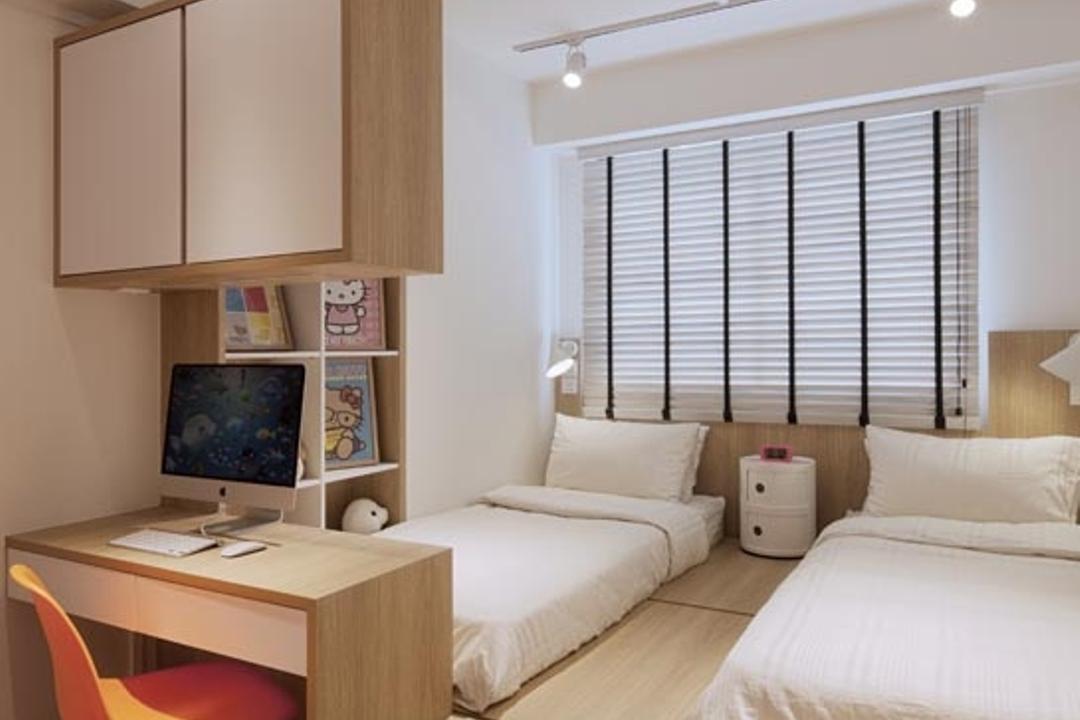 Punggol Waterway Terraces, Posh Home, Minimalistic, Bedroom, HDB, Platform, Beds, Blinds, Desk, Chair, Shleving, Track Lights, Sink, Indoors, Room, Furniture, Table