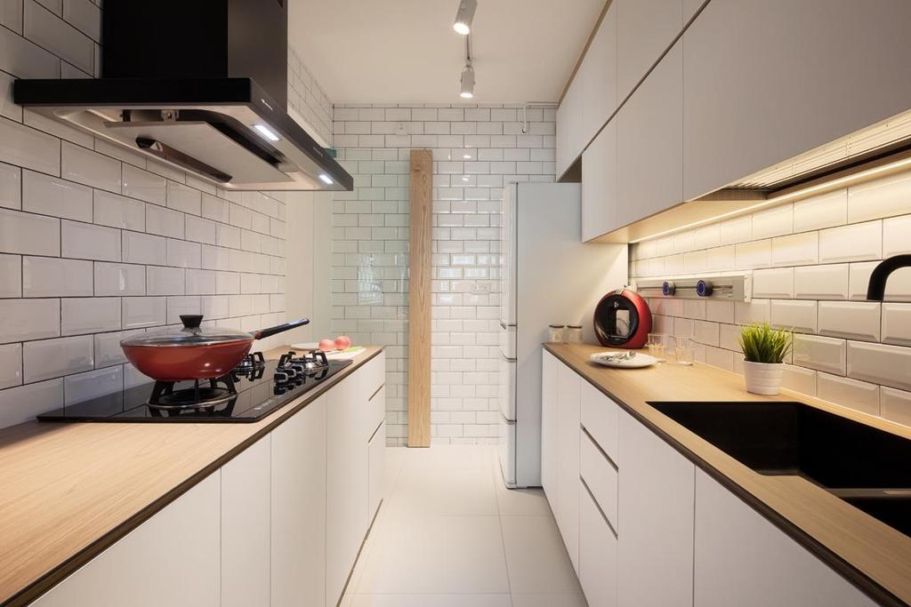 Minimalistic, HDB, Kitchen, Punggol Waterway Terraces, Interior Designer, Posh Home, Kompac, Cabinets, Drawers, Tiles Wall Backing, Tiles, Wall Backing, Track Lights, Stove, Sink, Hood